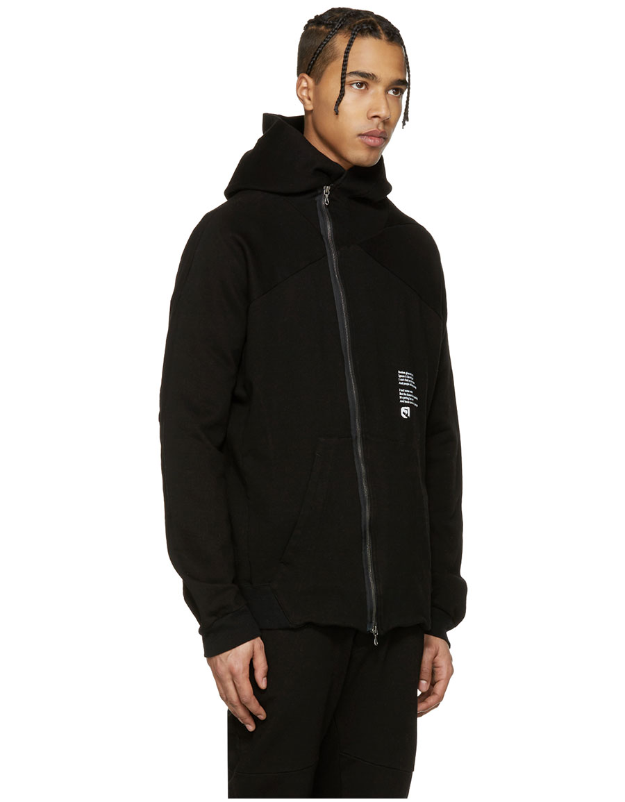 JULIUS Black Asymmetric 'Dust' Zip Up Hoodie