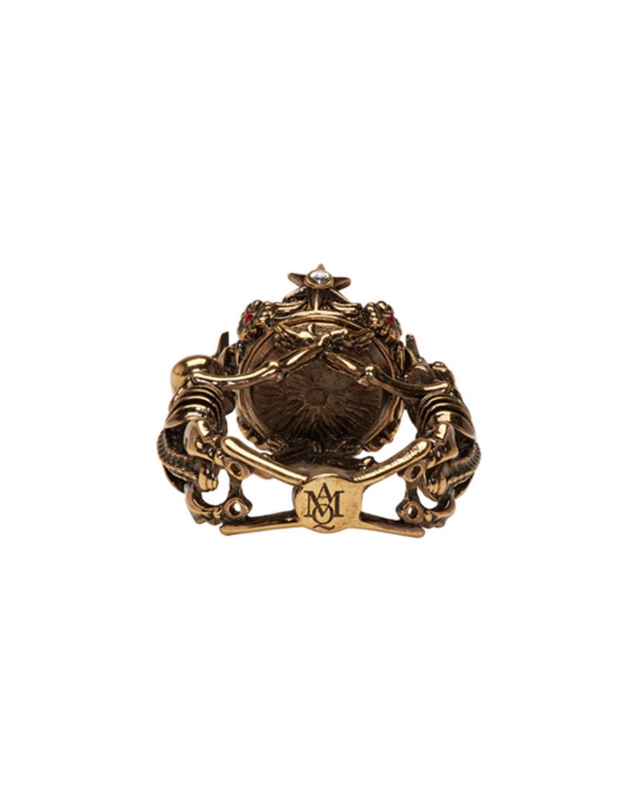 ALEXANDER MCQUEEN Gold Two Skeletons Ring
