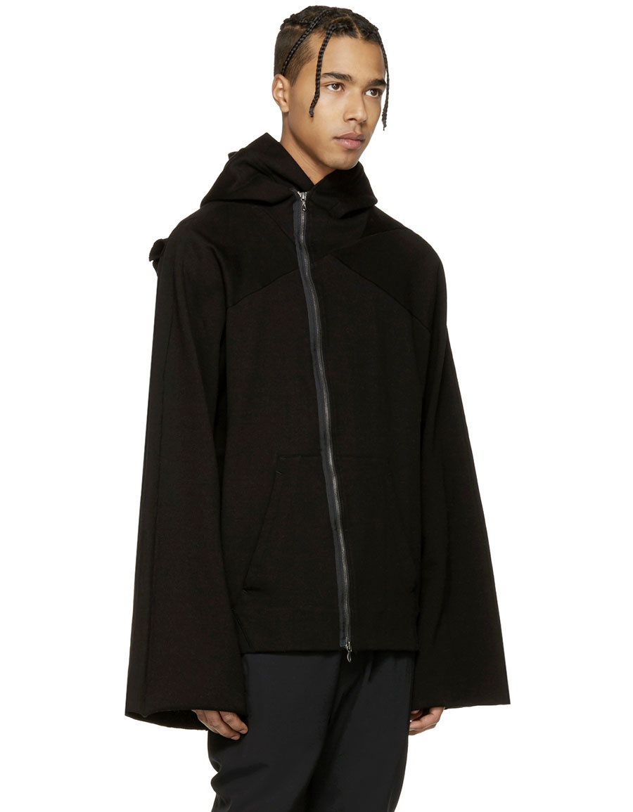 JULIUS Black Asymmetric Patch Zip Up Hoodie