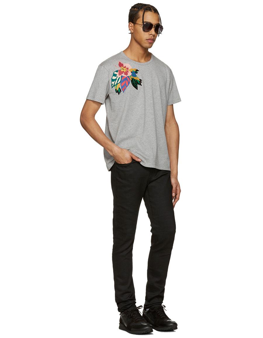 VALENTINO Grey Flower & Butterfly T Shirt