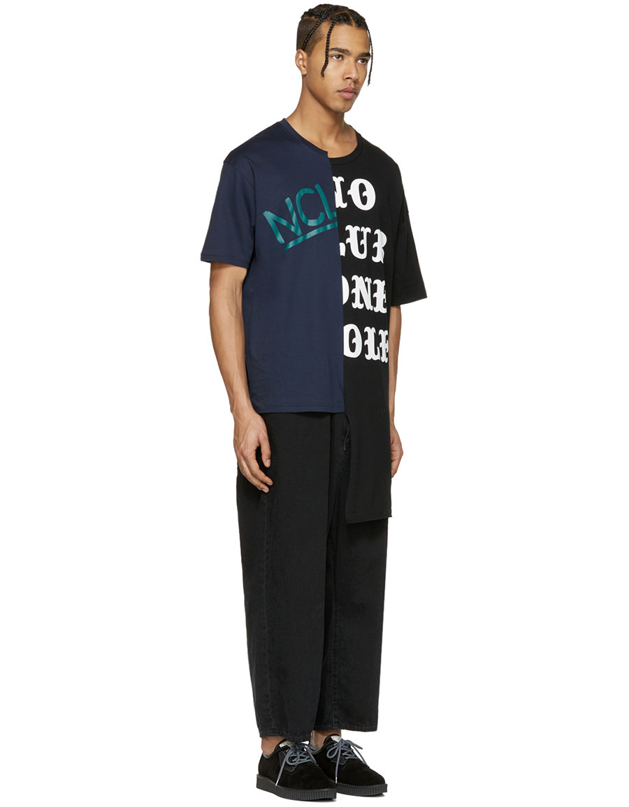MIHARAYASUHIRO Black & Navy Patchwork T Shirt