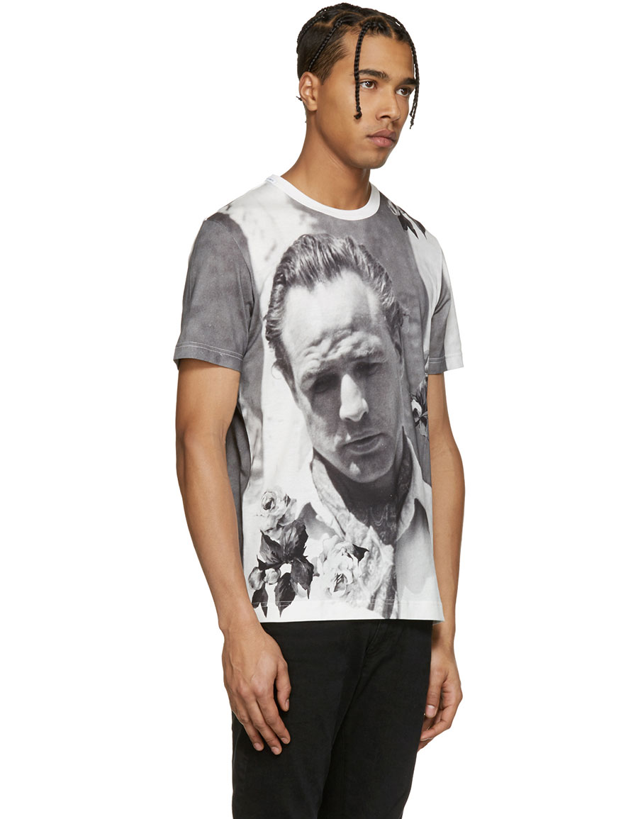 DOLCE & GABBANA White Pensive Marlon Brando T Shirt