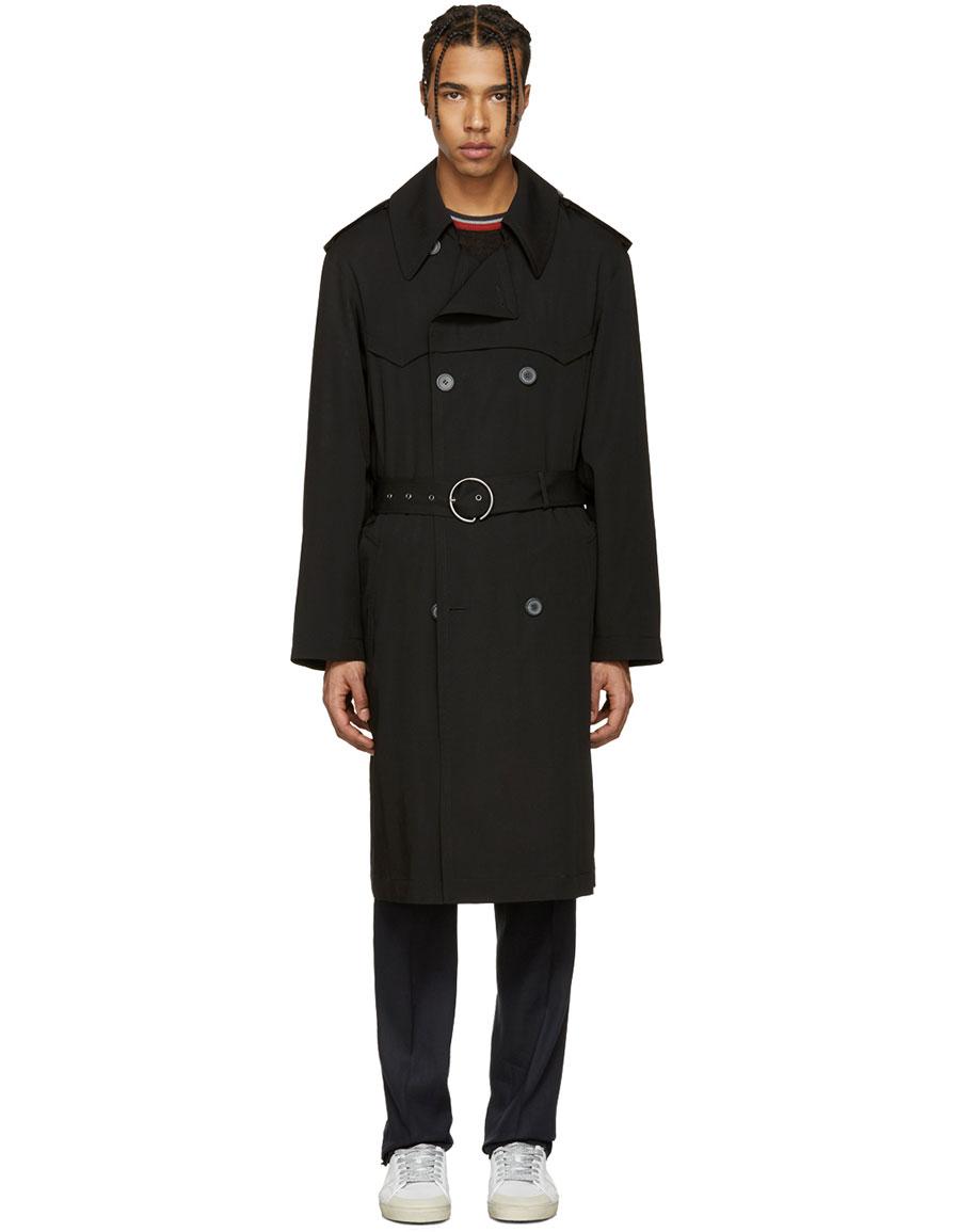 LANVIN Black Wool Trench Coat