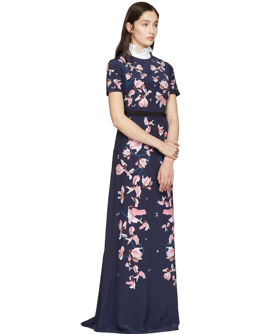 ERDEM Navy Samira Dress