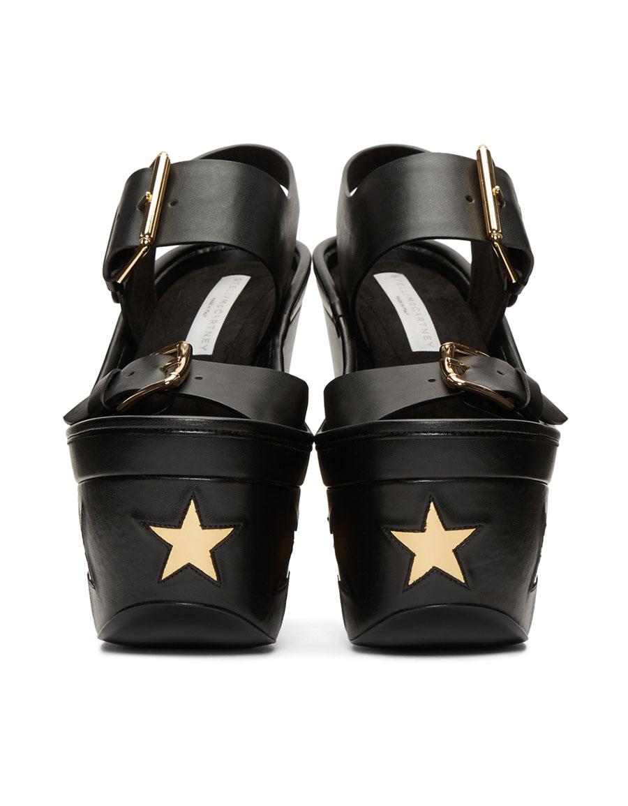 Buckle Star Platform Sandals, Black