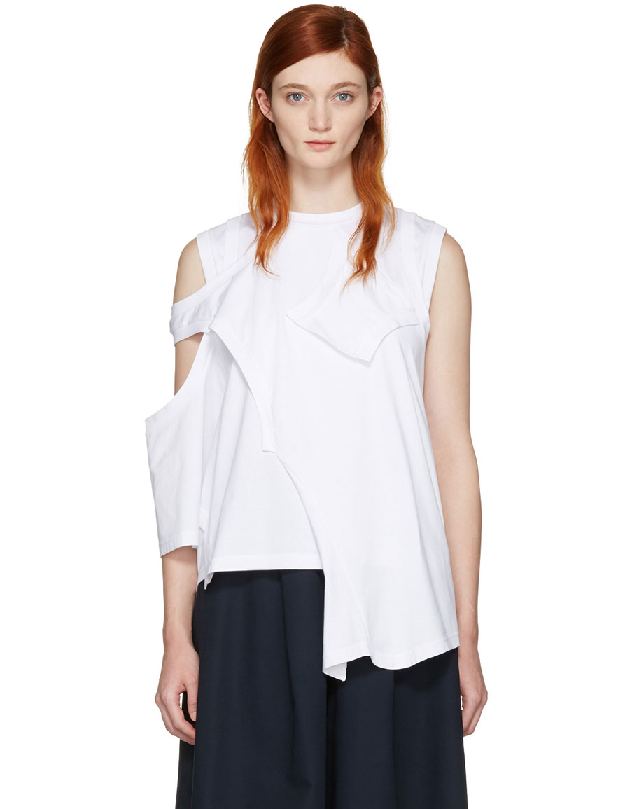 ENFOLD White Reconstructed Jersey T Shirt