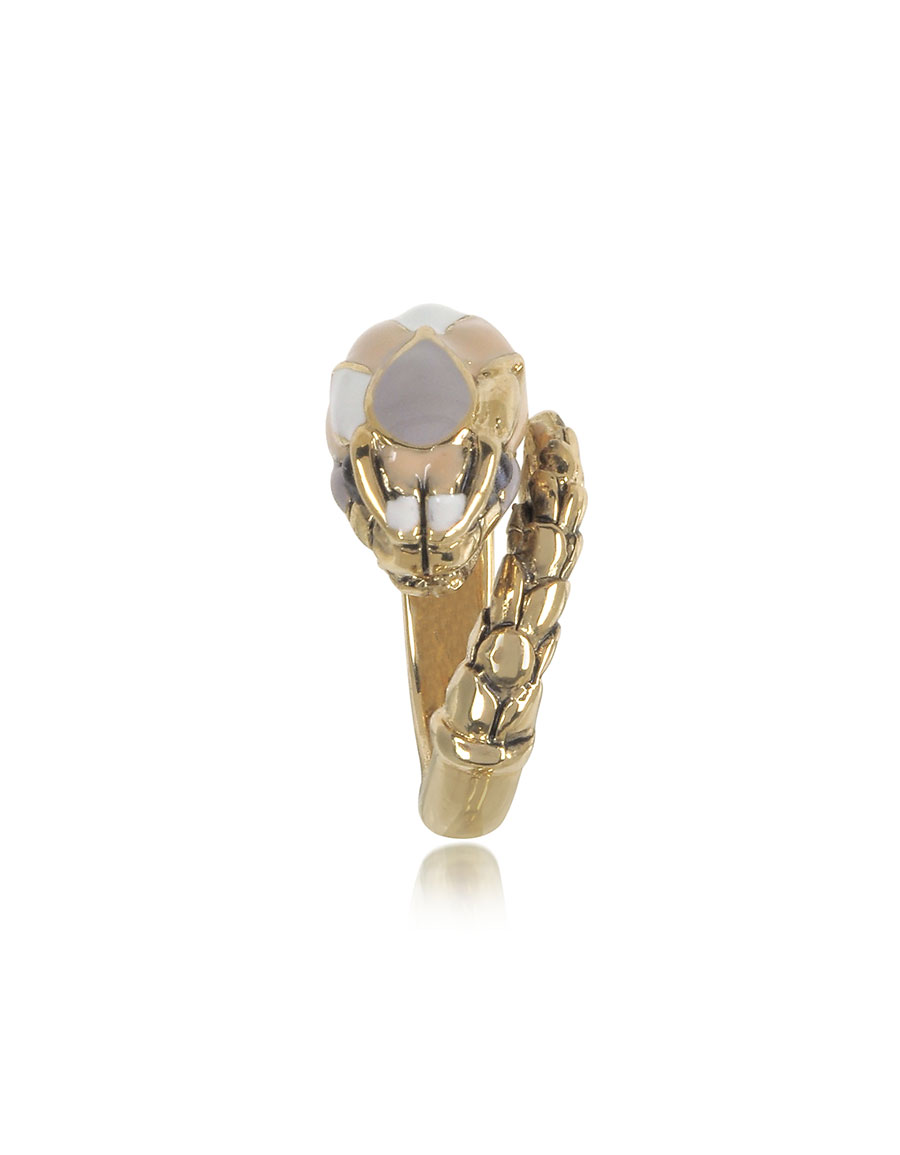 ROBERTO CAVALLI Gold Tone Metal and Multicolor Enamel Snake Ring
