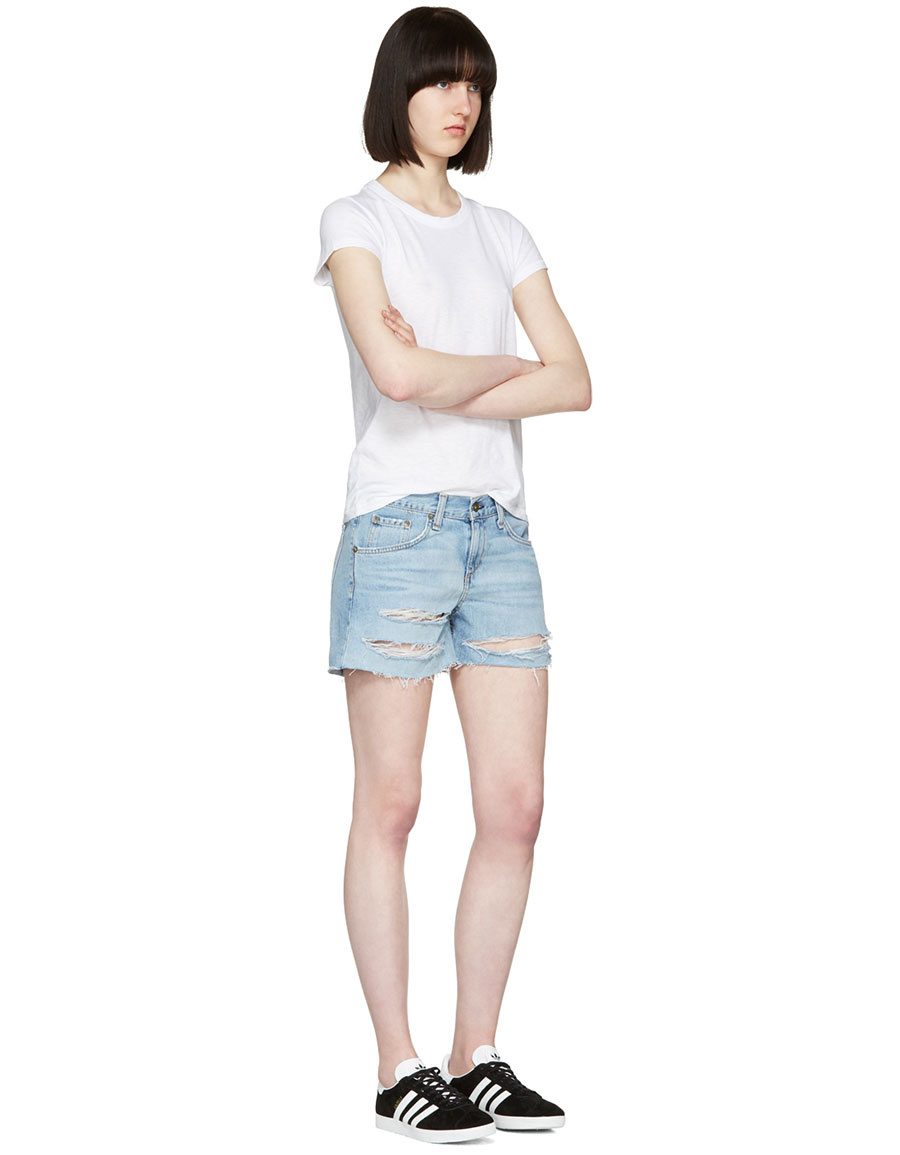 RAG & BONE Blue Denim Boyfriend Shorts