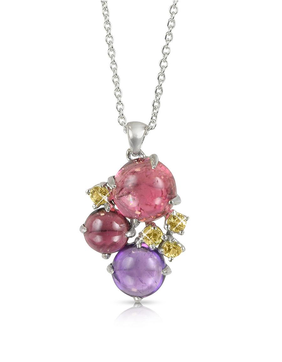 MIA & BEVERLY Gemstones 18K White Gold Pendant Necklace