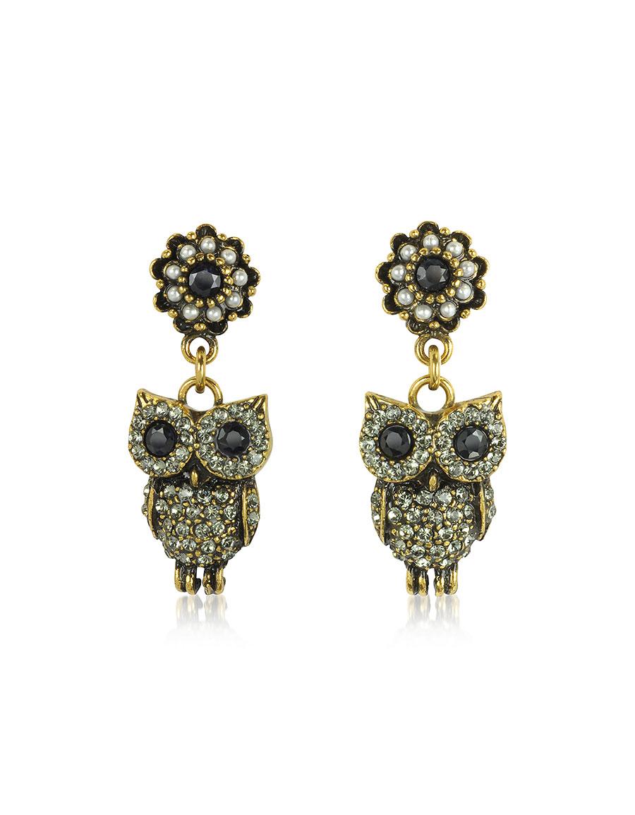 ALCOZER & J Hanging Goldtone Brass w/Crystals Drop Earrings