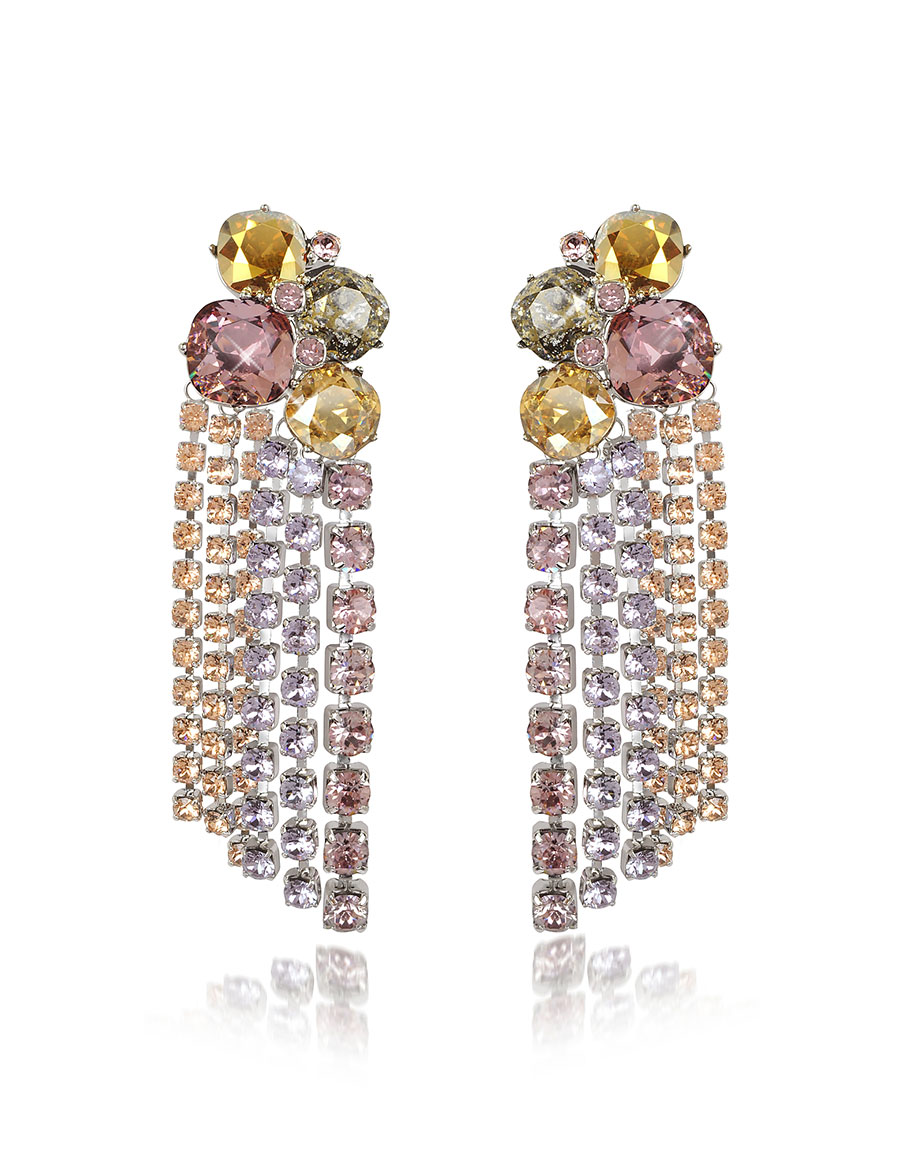 TORY BURCH Stone Cascade Clip on Earrings