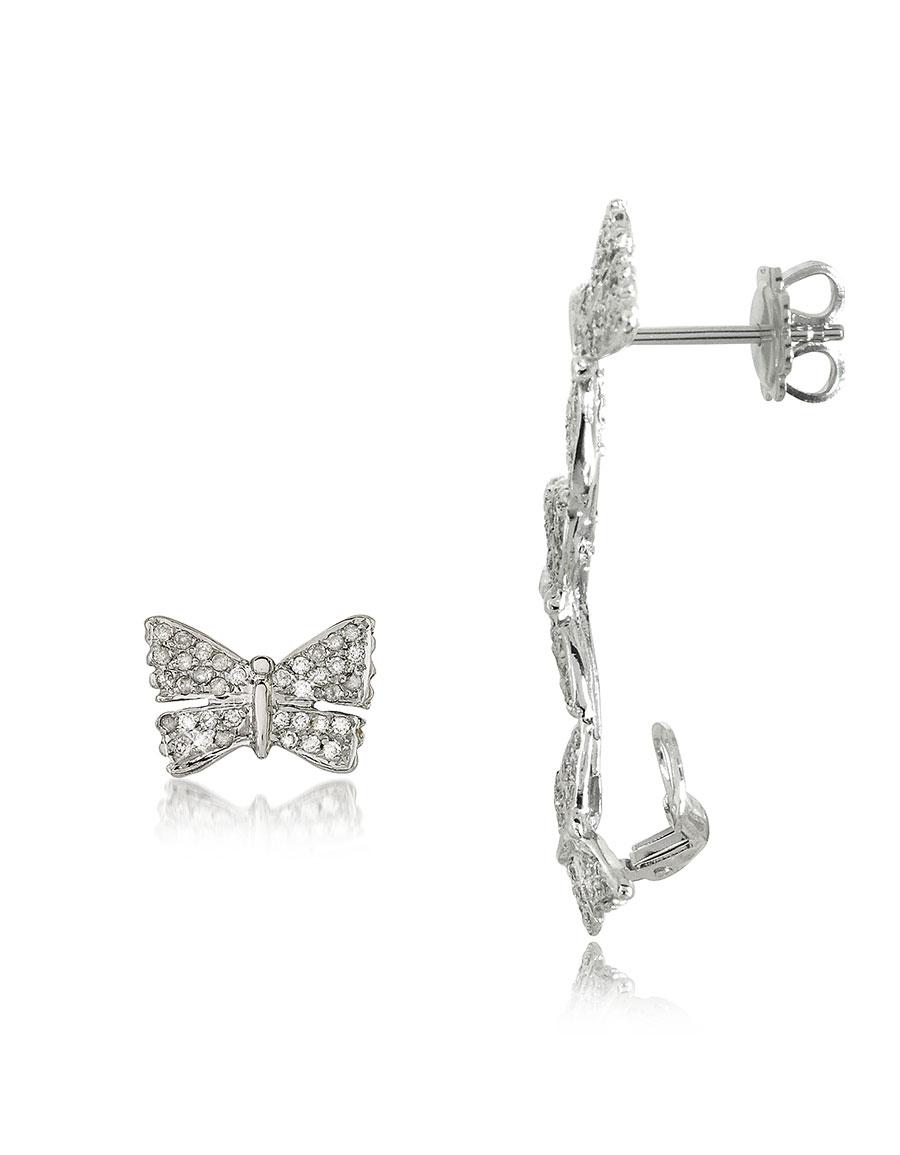 BERNARD DELETTREZ Butterflies White Gold Earrings w/Diamonds