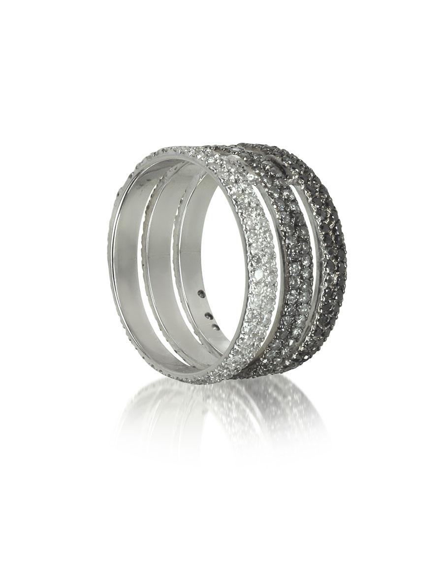 BERNARD DELETTREZ Triple Band 18K White Gold Ring w/White, Grey and Black Diamonds