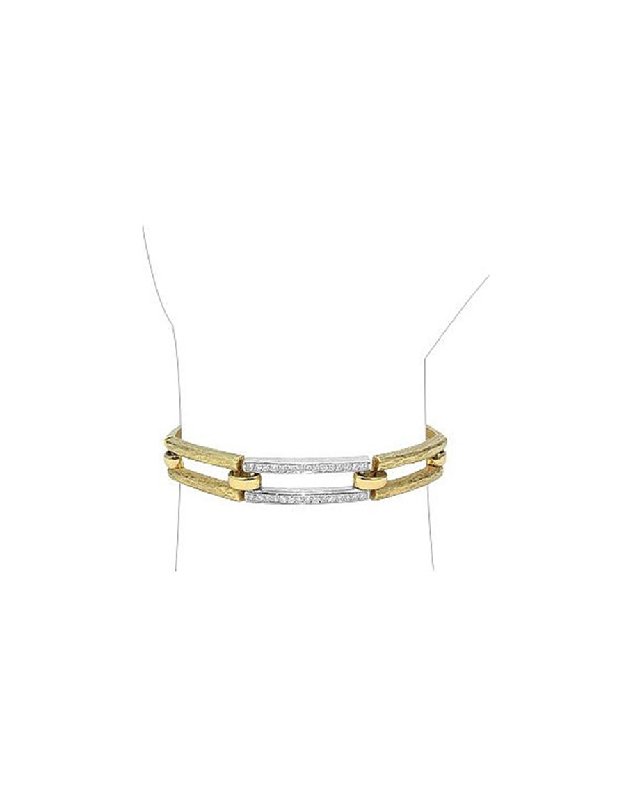 TORRINI Beatrice Gold and Diamond Rectangular Link Bracelet