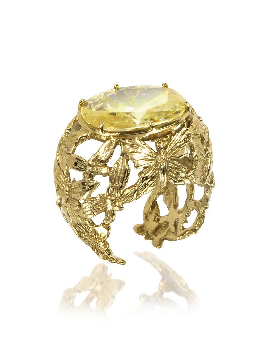 BERNARD DELETTREZ Bronze Dome Ring w/Butterflies and Yellow Cubic Zirconia