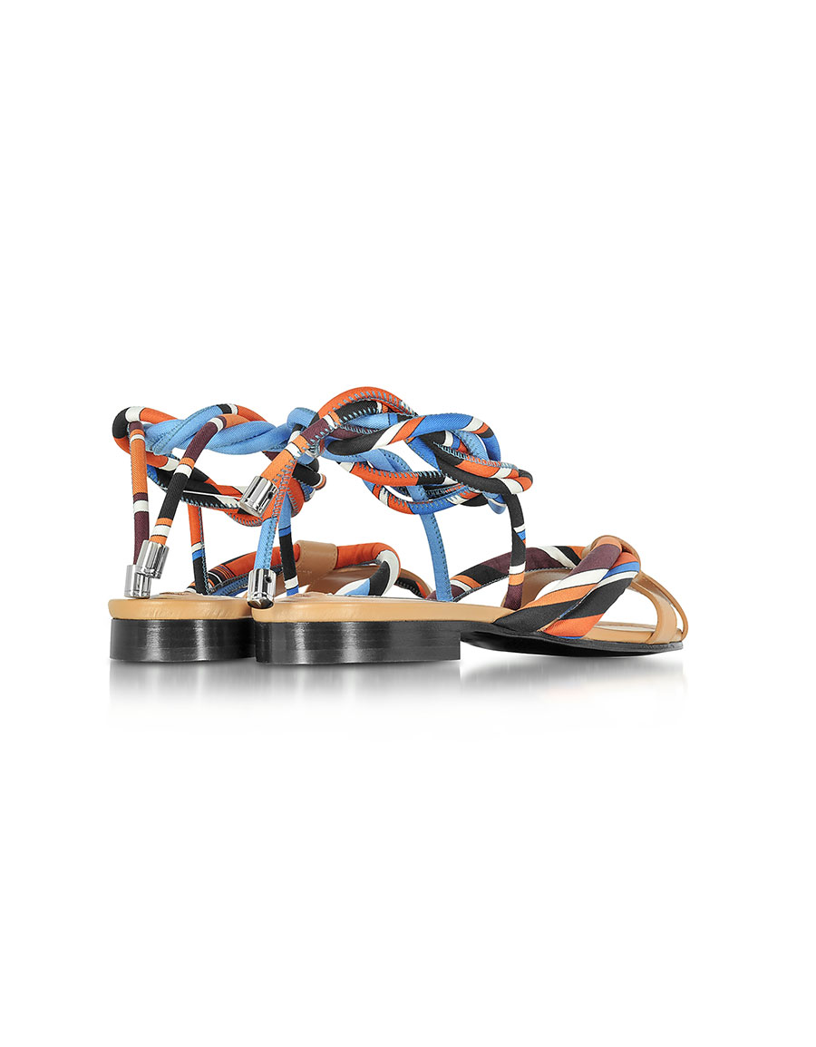 EMILIO PUCCI Navy, Sky Blue and Mandarin Silk and Leather Flat Sandal