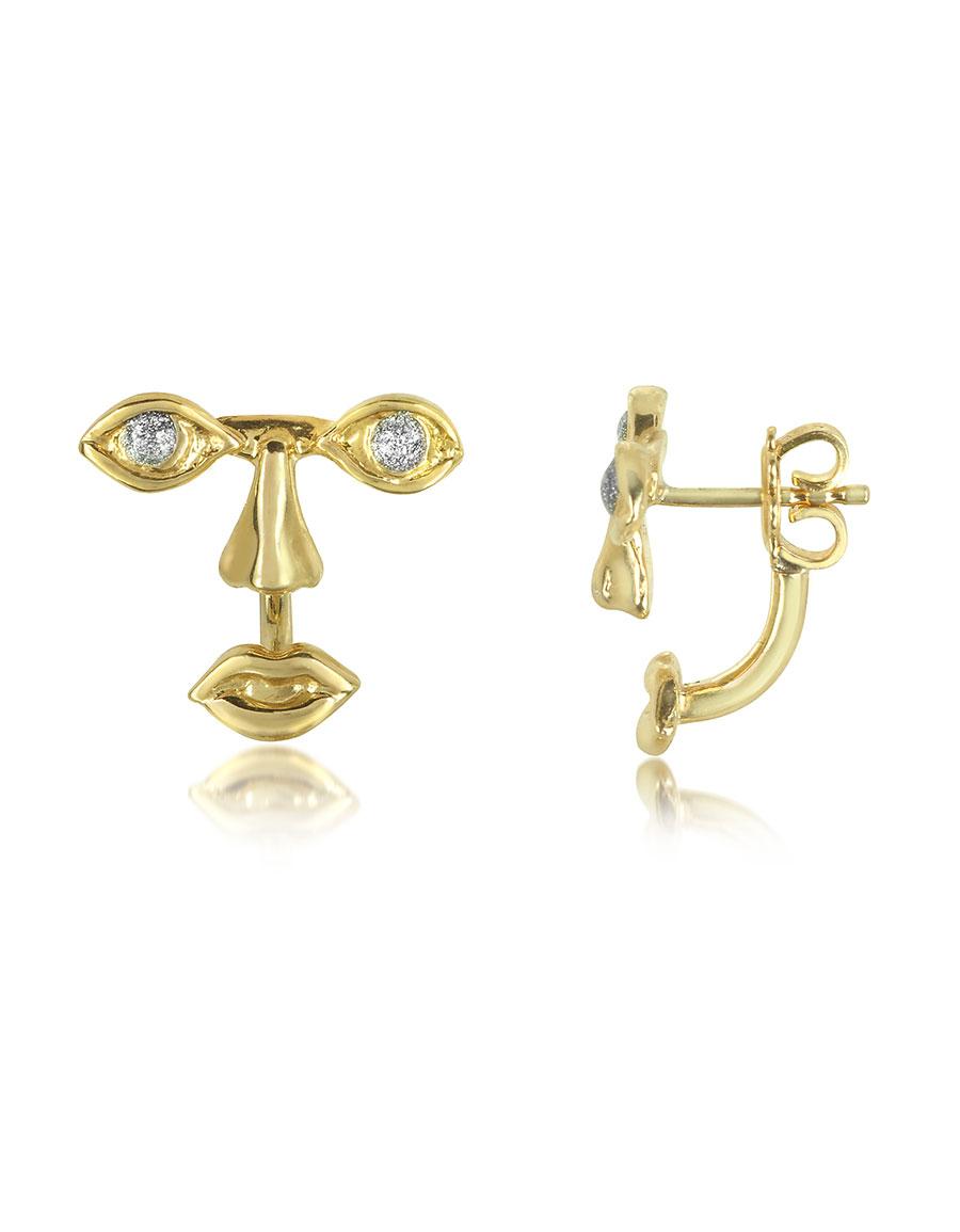 BERNARD DELETTREZ Osvaldo Piercing Gold Earrings
