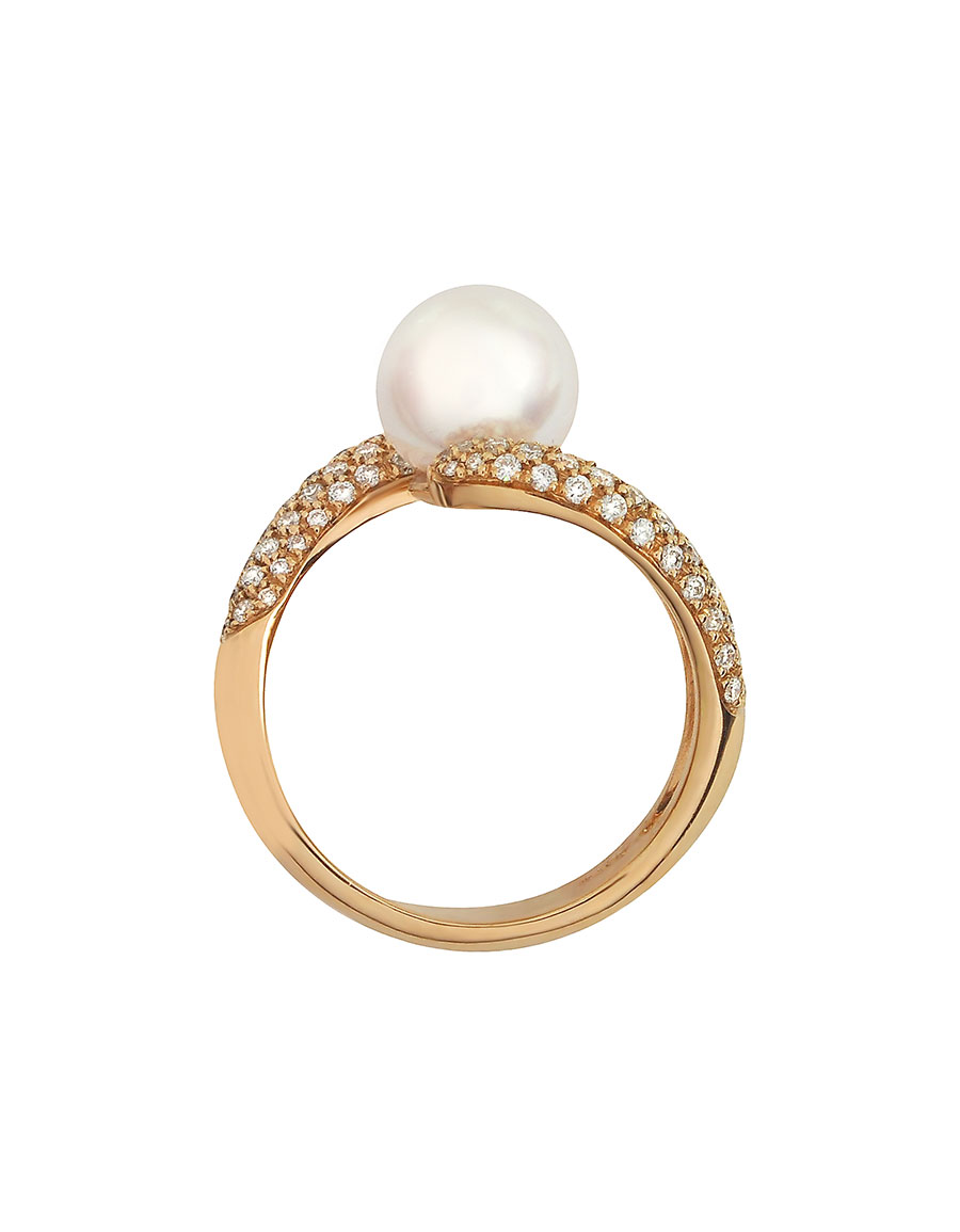 FORZIERI 0.70 ct Diamond and Pearl 18K Gold Ring
