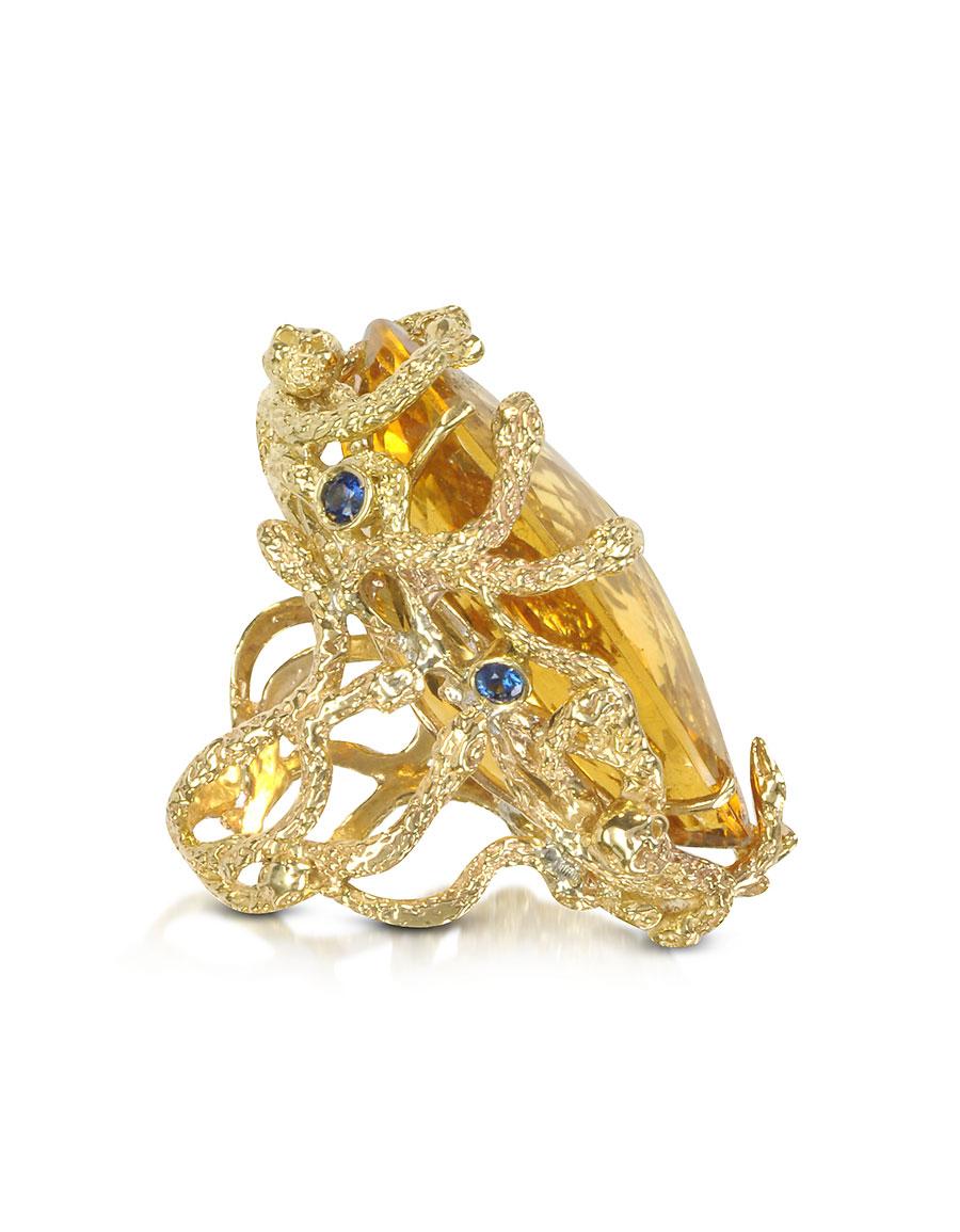 BERNARD DELETTREZ Medusa Gold and Citrine Ring