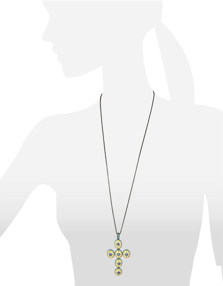 AZHAR Capri Silver, Zircon and Enamel Cross Necklace
