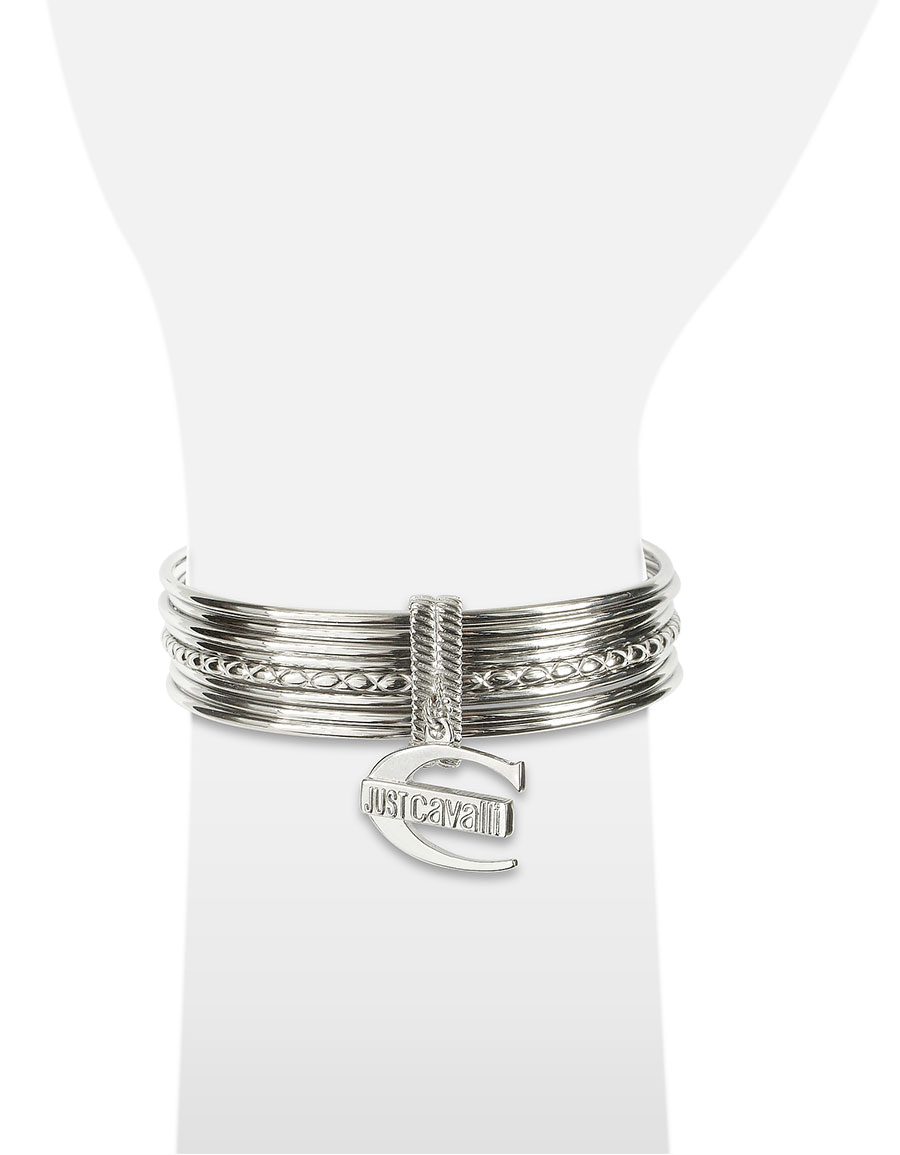 JUST CAVALLI Infinity Logo Charm Stacked Bangle Bracelet