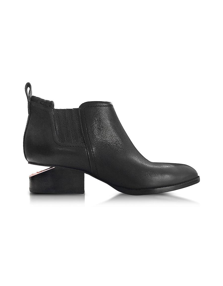 ALEXANDER WANG Kori Black Leather Bootie w/Rose Goldtone Heel