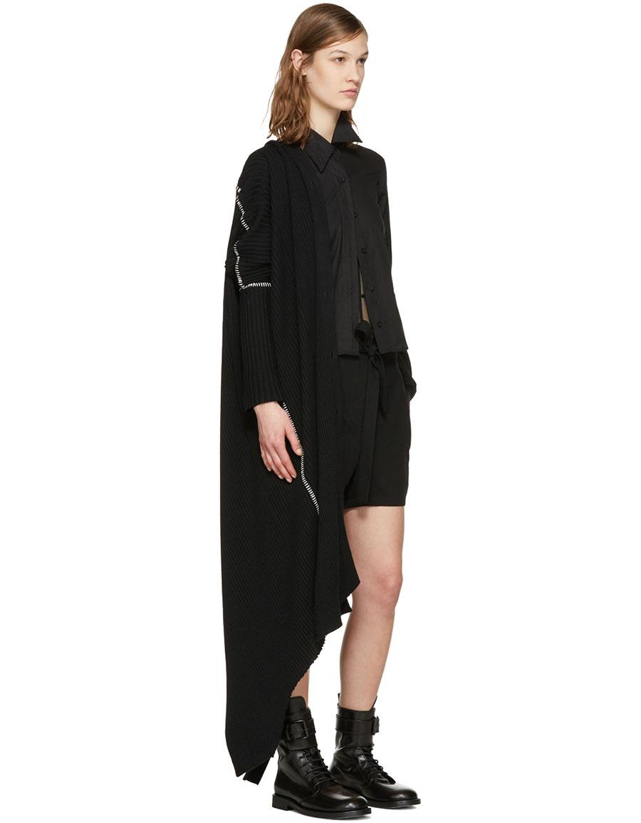 ANN DEMEULEMEESTER Black Rib Knit Cardigan