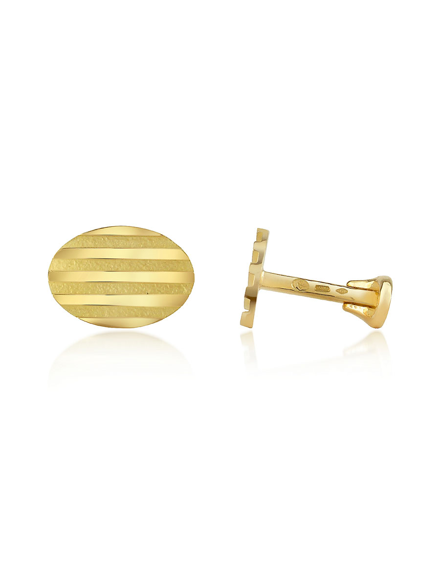 TORRINI Stripes 18K Yellow Gold Oval Cufflinks