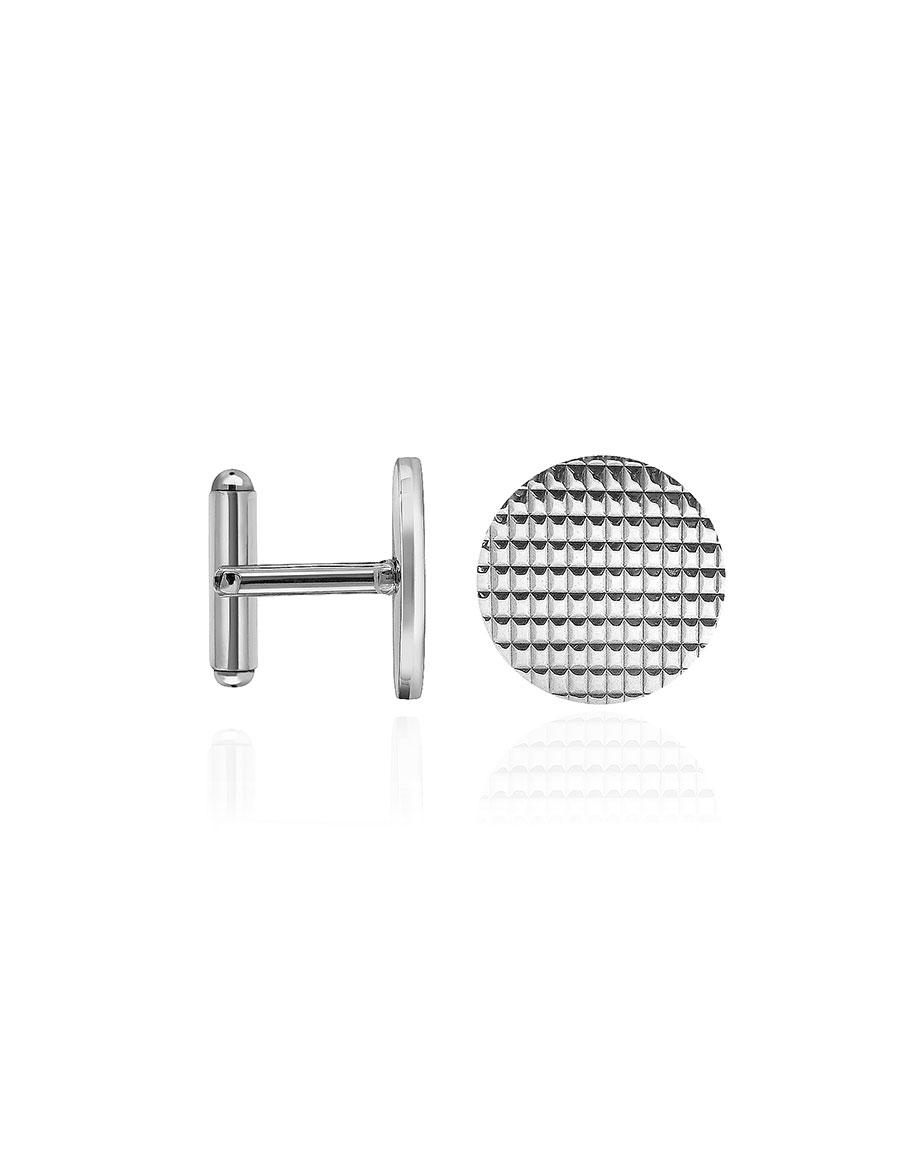 FORZIERI Round Decorated Sterling Silver Cufflinks