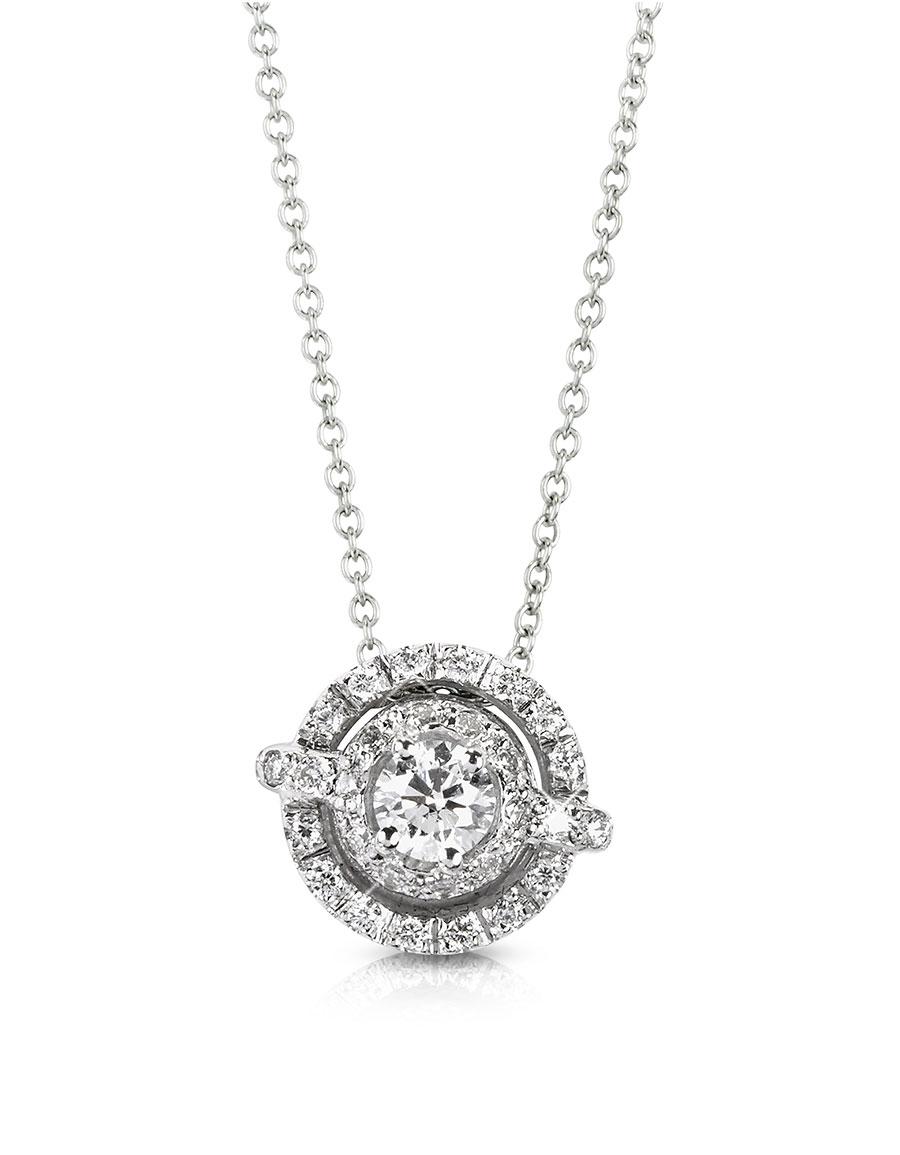 FORZIERI 0.42 ctw Diamond 18K White Gold Pendant Necklace