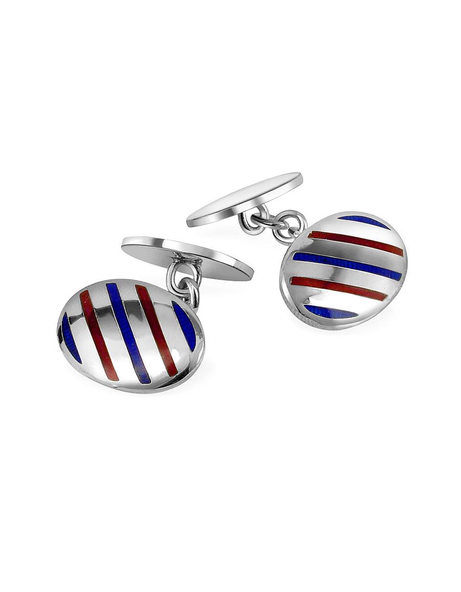 FORZIERI Oval Striped Sterling Silver Double Sided Cufflinks