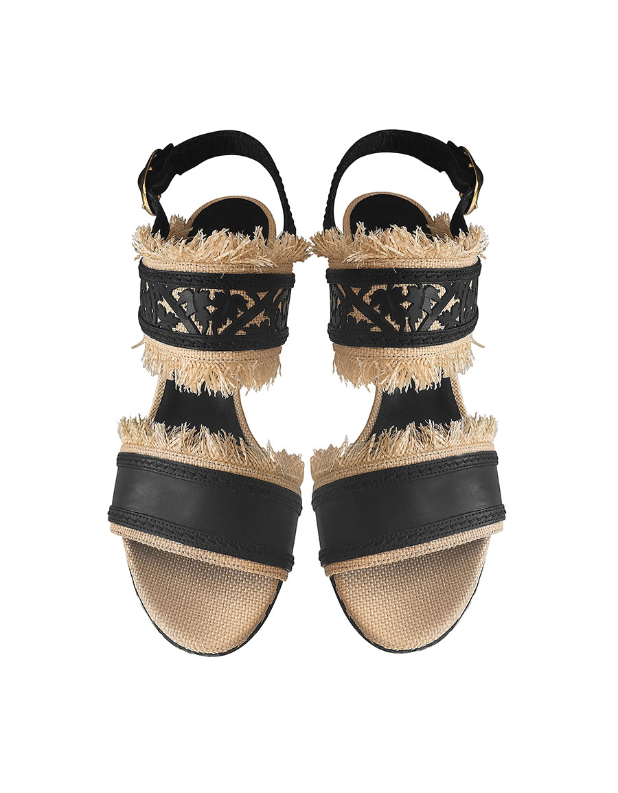 OSCAR DE LA RENTA Talitha Black & Beige Lasercut Leather and Raffia Wedge Sandals