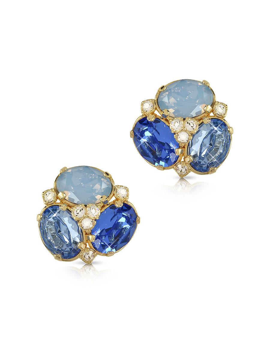 FORZIERI Blue Crystal Clip on Earrings