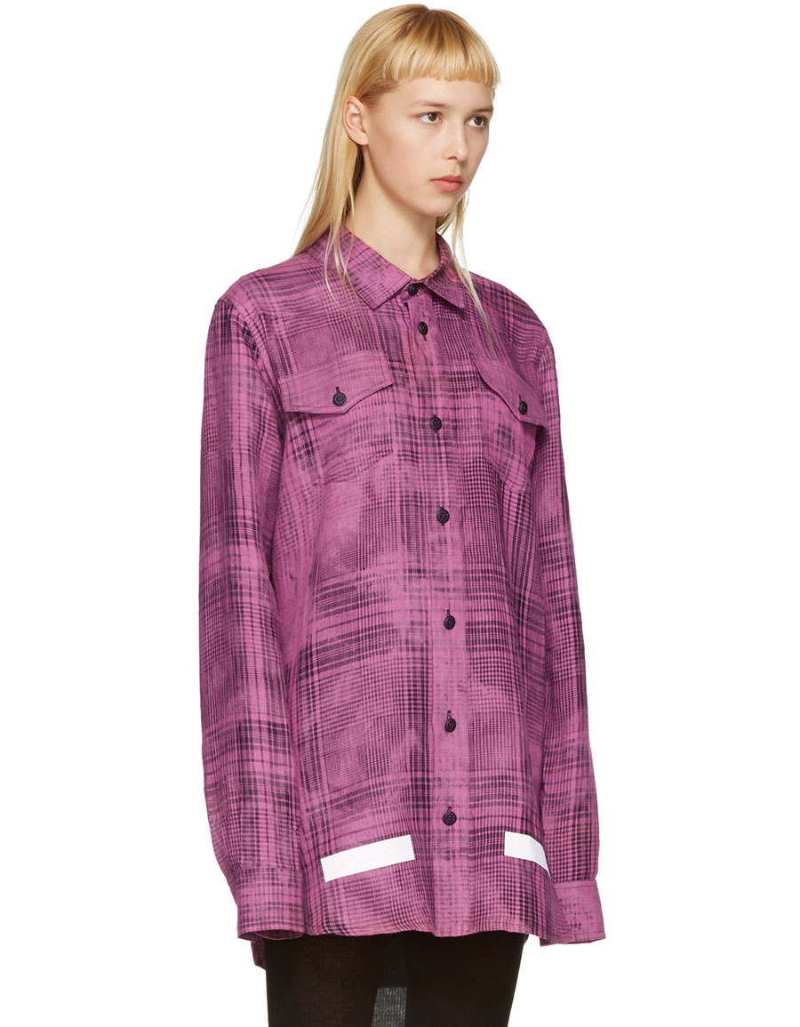 OFF WHITE Pink Linen Check Shirt