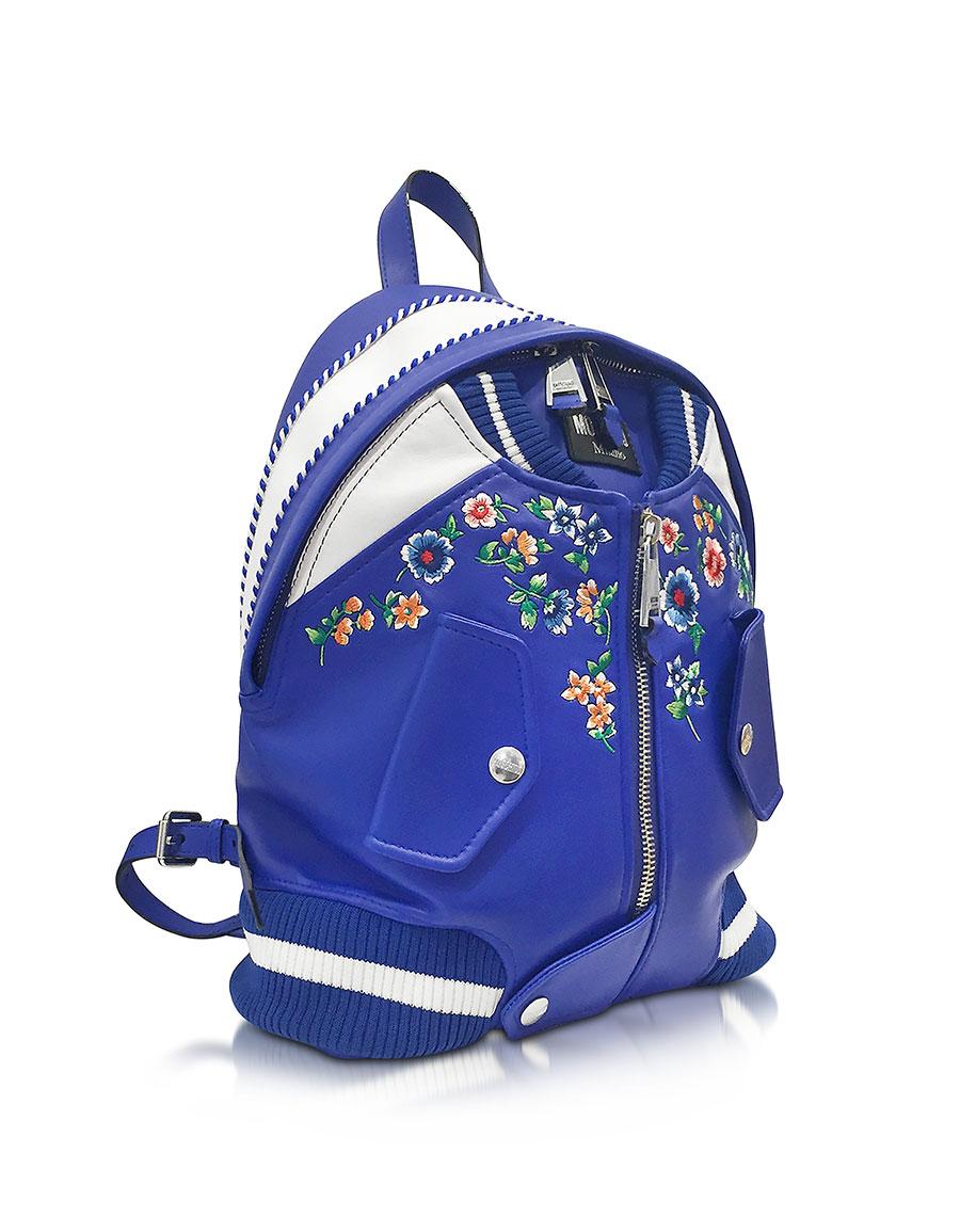 MOSCHINO Blue & White Leather Jacket Backpack