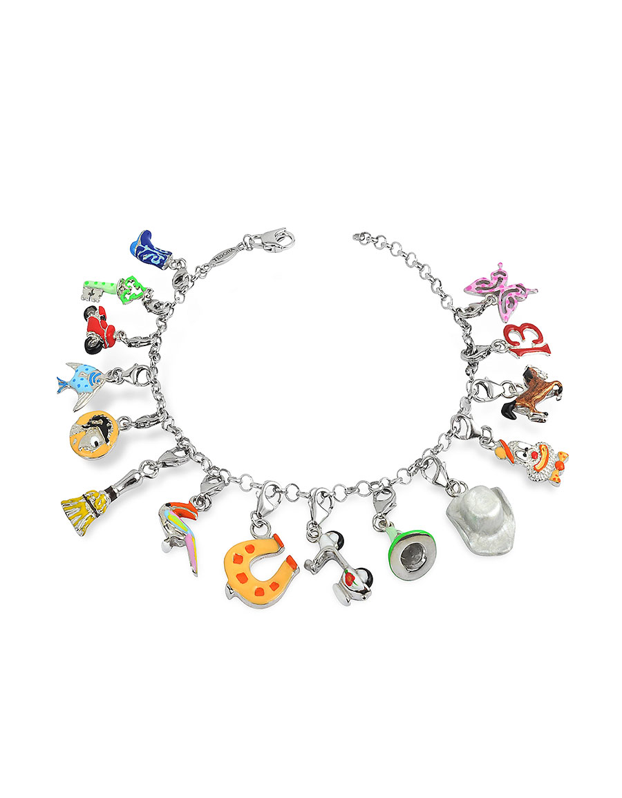 TEDORA Sterling Silver Multicolor Charm Bracelet