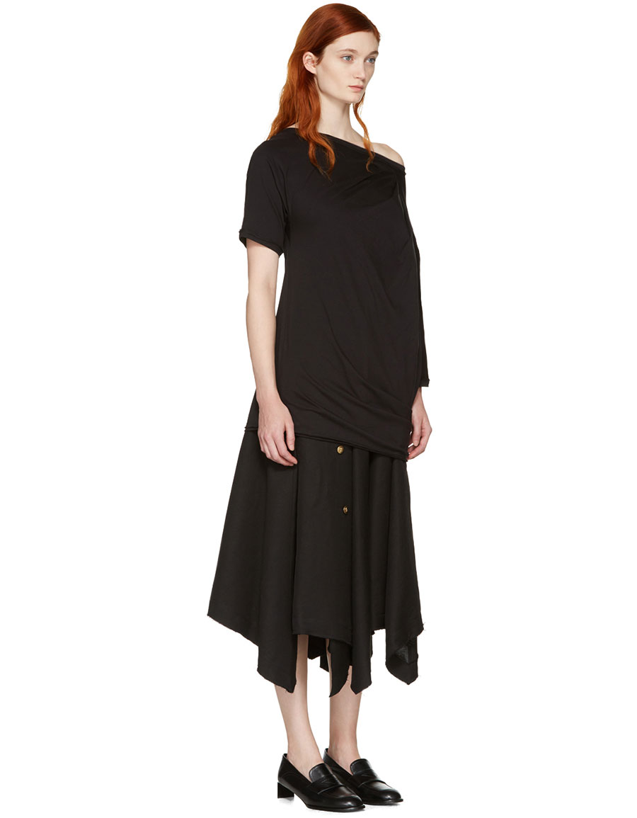 LOEWE Black Asymmetric Draped T Shirt