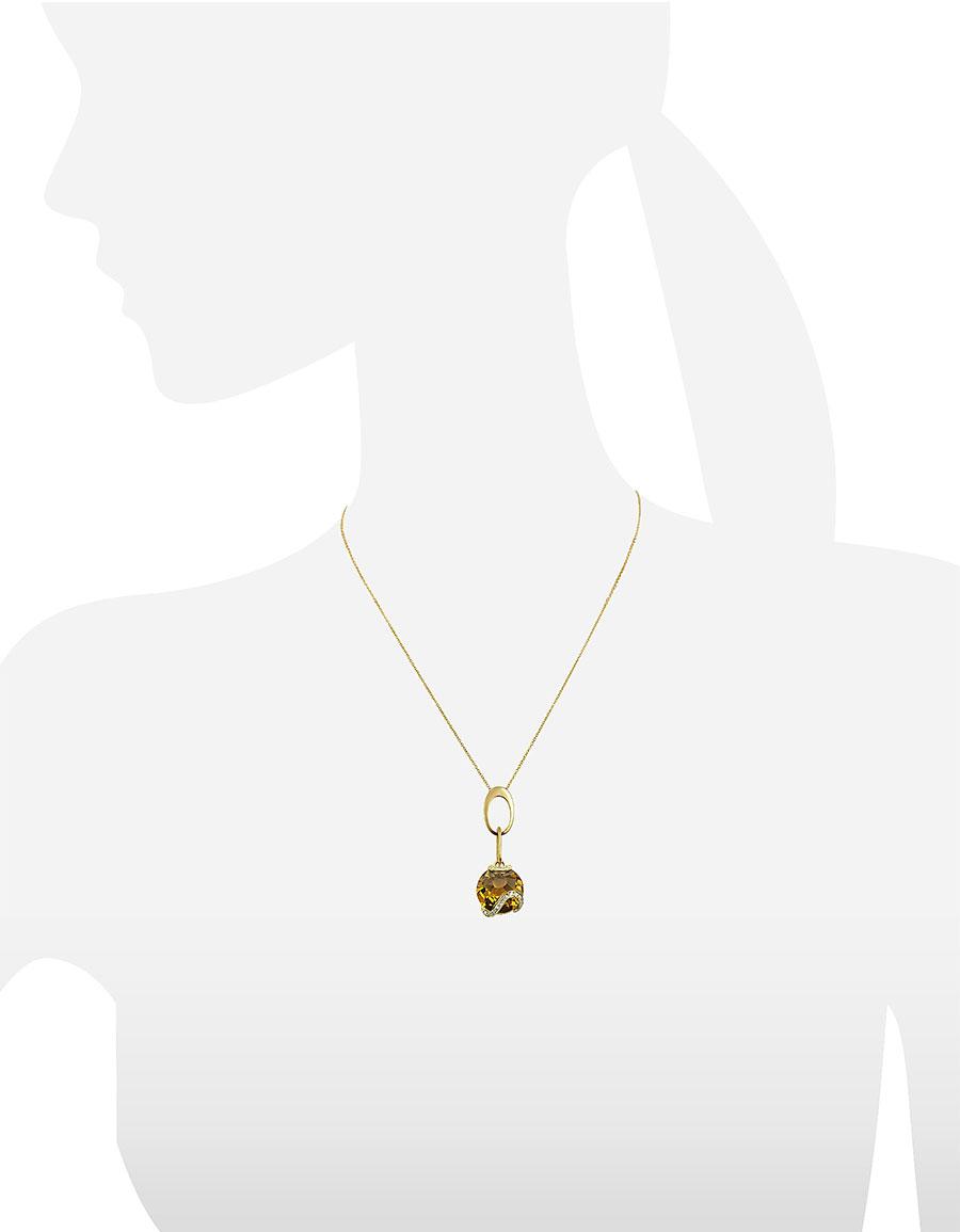INCANTO ROYALE Citrine and Diamond 18K Gold Charm Necklace