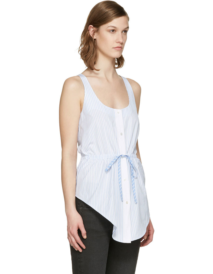 ALEXANDER WANG Blue & White Striped Oxford Top