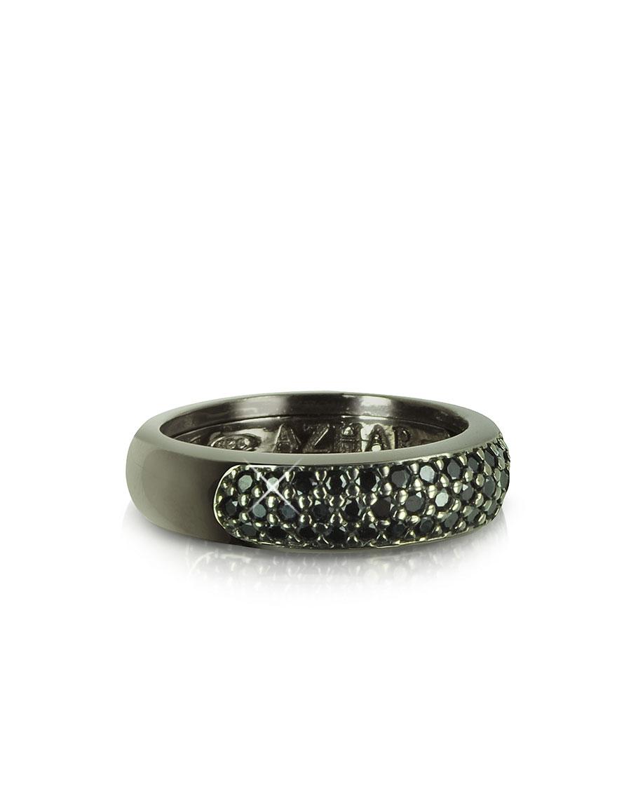 AZHAR Black Cubic Zirconia & Sterling Silver Ring