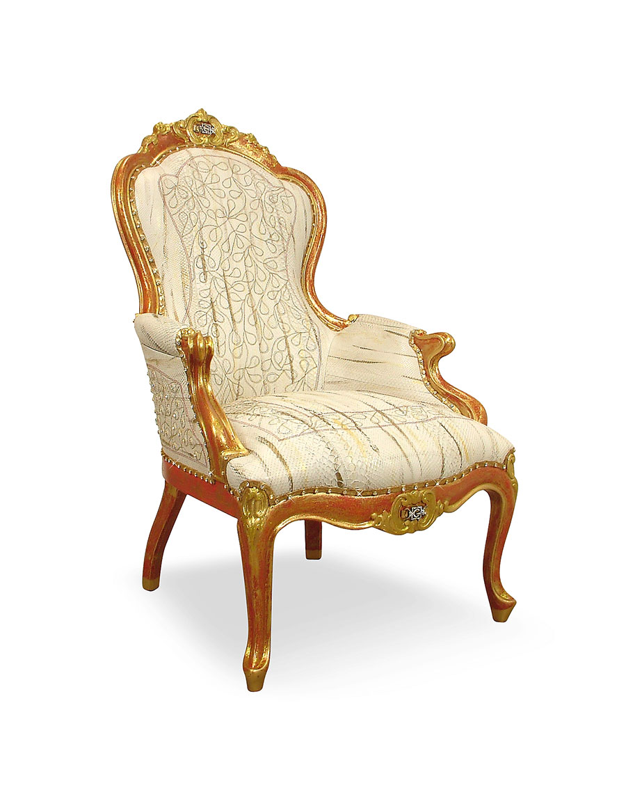 GHIBLI Cream Embroided Reptile Leather Louis Philippe Armchair