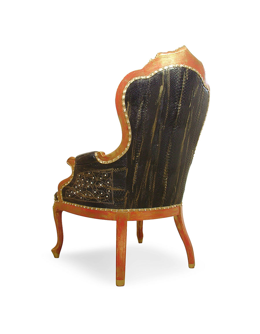 GHIBLI Black Embroidered Reptile Leather Louis Philippe Armchair