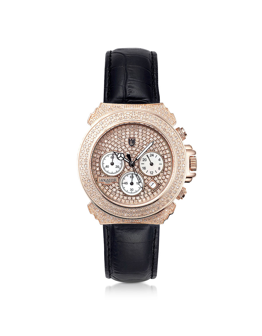 LANCASTER Pillo Deco' Leather Band Women's Chronograph Watch