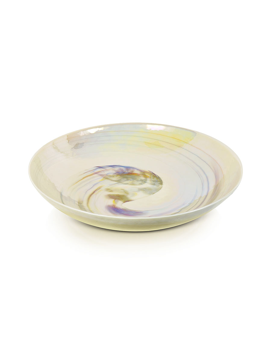 YALOS MURANO Fossili Ivory Mother of Pearl Effect Murano Glass Centerpiece