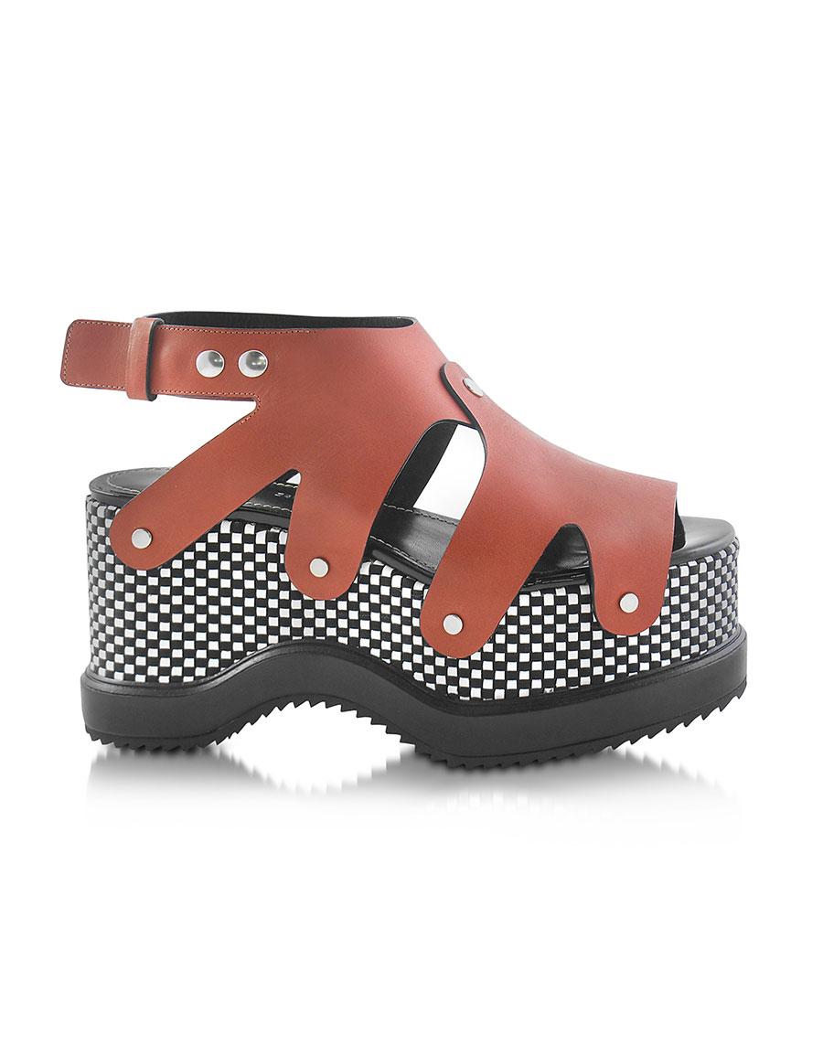 PROENZA SCHOULER Nappa Leather Sandal w/Optical Print Wedge