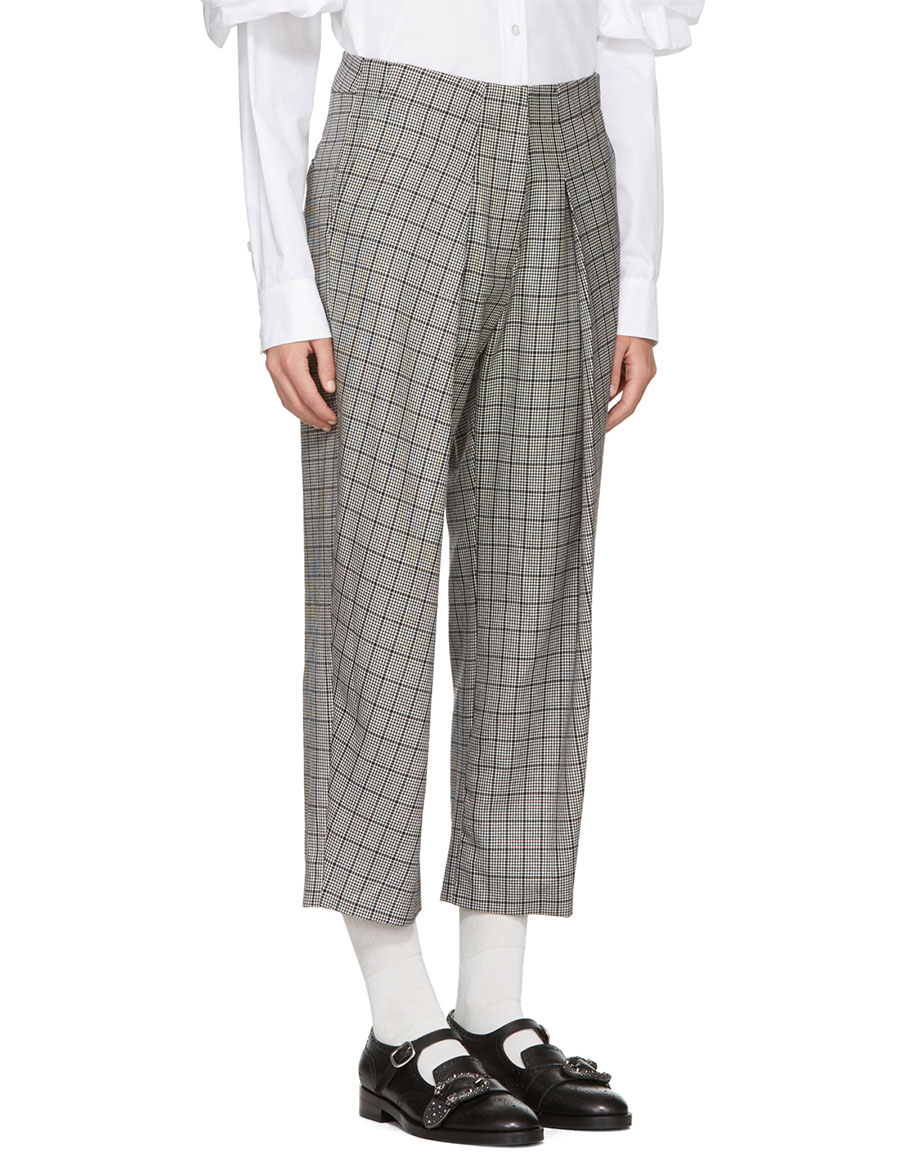 ASHLEY WILLIAMS Black & Ivory 'Prince Of Wales' Trousers