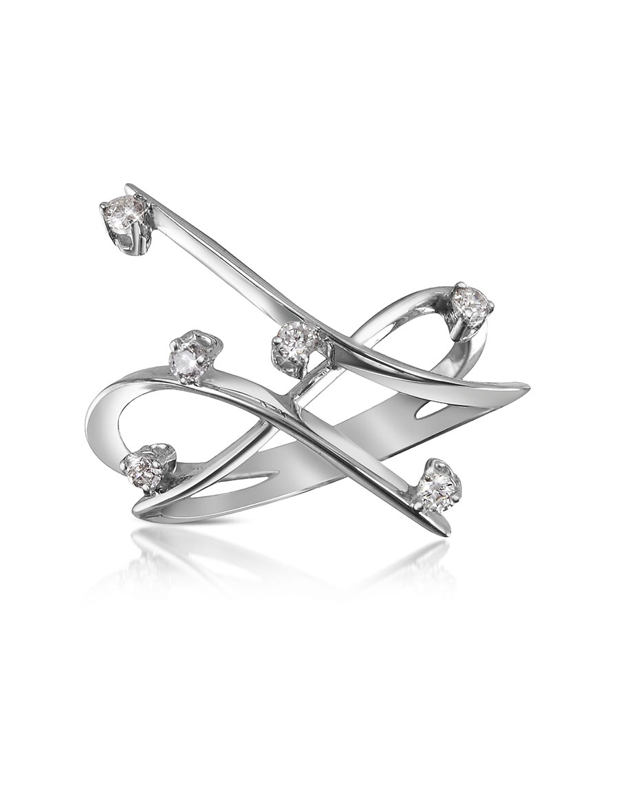 FORZIERI 0.18 ctw Diamond Cross Over Ring