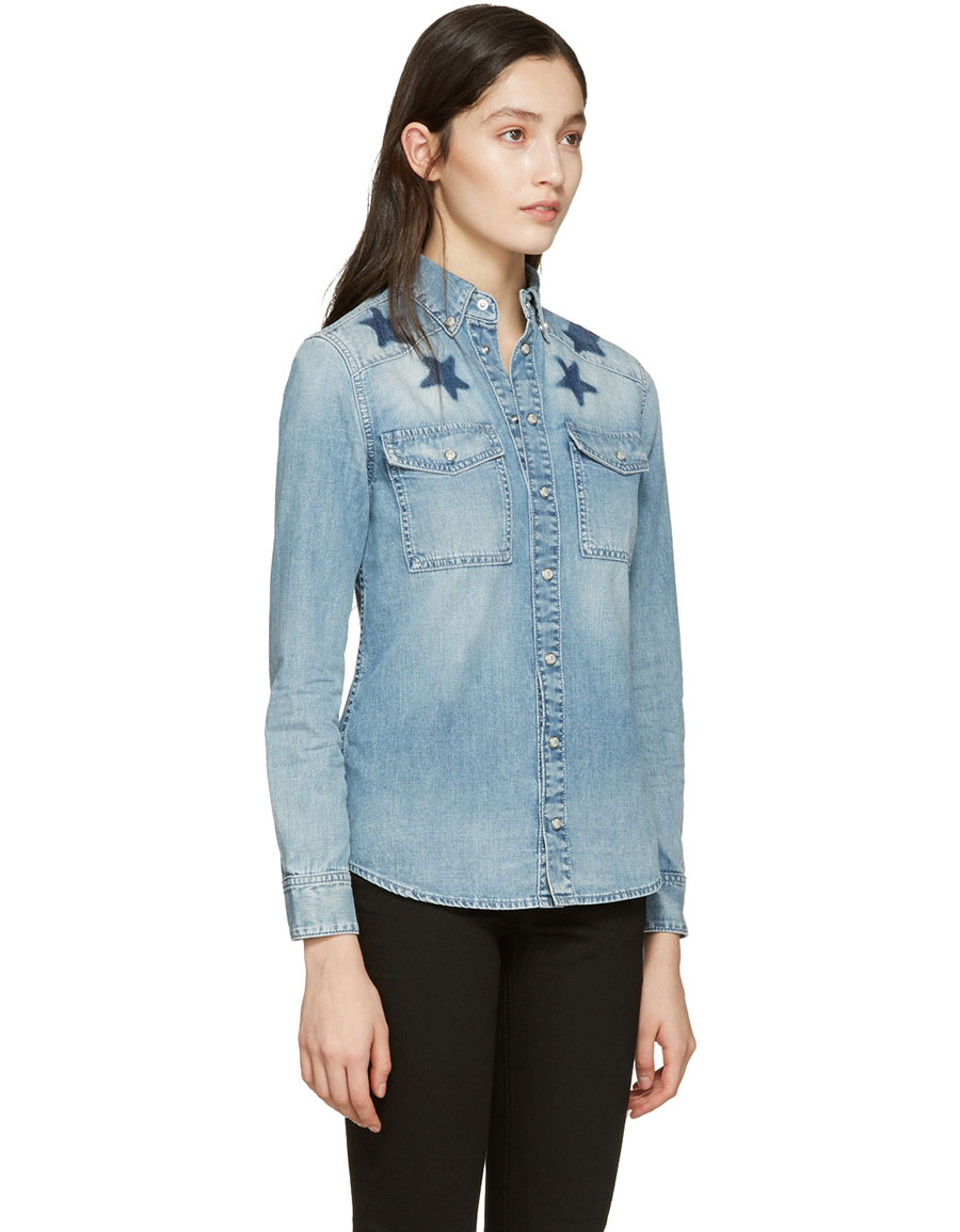 GIVENCHY Blue Denim Washed Stars Shirt