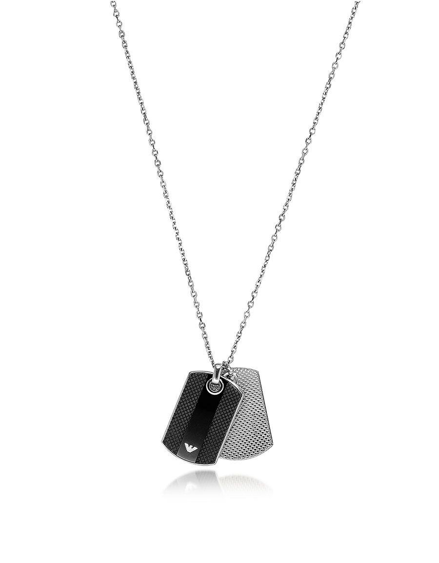 EMPORIO ARMANI Iconic Black and Silver Stainless Steel Charm Men's Necklace