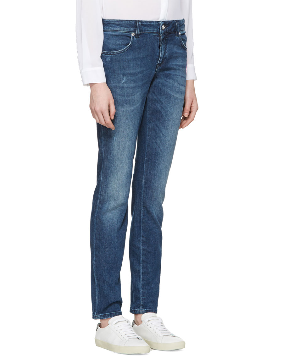 VERSUS Indigo Pin & Patch Jeans